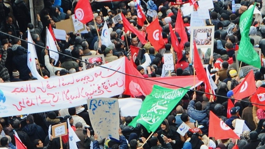 Feb 9, 2013: Protesters gather during a demonstration in Tunis. Several thousand supporters of Tunisia's ruling moderate Islamist party rallied in the capital in a pro-government demonstration Saturday, a day after the funeral of an assassinated opposition politician.