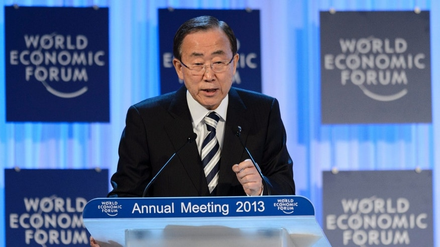 United Nations Secretary General Ban Ki-moon gestures during his speech, at a plenary session of the 43rd Annual Meeting of the World Economic Forum, WEF, in Davos, Switzerland, Thursday, Jan. 24, 2013.  (AP Photo/Keystone/Laurent Gillieron)
