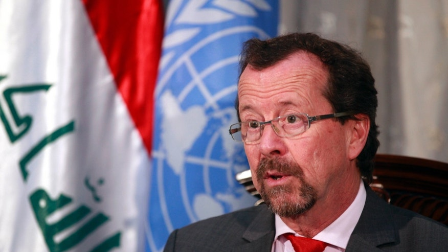 Martin Kobler, top U.N. envoy to Iraq speaks during an interview with The Associated Press in the heavily protected Green Zone in Baghdad, Iraq, Monday, Feb. 11, 2013. The U.N. envoy to Iraq says the Shiite-led government can do more to address demands by the country's restive Sunni minority. (AP Photo/Hadi Mizban)
