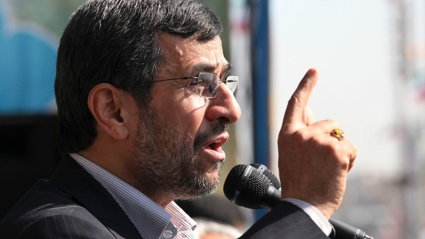 Iranian President Mahmoud Ahmadinejad, speaks during an annual rally commemorating the anniversary of the 1979 Islamic revolution, which toppled the late pro-U.S. Shah, Mohammad Reza Pahlavi, in Tehran, Iran, Sunday, Feb. 10, 2013. In his statements to the rally, Ahmadinejad said he is ready to have direct talks with United States if the West stops pressuring his country. (AP Photo/Vahid Salemi)