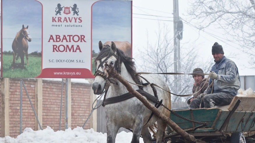 In this Feb. 12, 2013  men ride on a horse pulled cart passing by the Doly Com abattoir, in Sieu Sfantu, Romania,  one of the two Romanian plants suspected in the recent European horse meat scandal . Europe's horsemeat scandal has focused the spotlight on Romania and its network of 35 plants authorized to butcher horses. France says Romanian butchers were part of a supply chain that resulted in horsemeat being labeled as beef in frozen meals across Europe. The Romanians have bristled and say the meat was properly declared when it left the country.  (AP Photo/Vadim Ghirda, File)