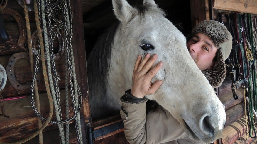 "In this photo taken on Tuesday, Feb. 12, 2013,  Simion Craciun, a Romanian farmer, poses with a horse at Sieu Sfantu, in Romania's central region Transylvania. The name of his farm translates roughly as ""Saving Horses from Wolves."" But for Simion Craciun, the real predators are from the nearby slaughterhouse.  When word has gotten to him that a horse is being sold to the abattoir in the poor northern Transylvania region where he lives, he has rushed out to offer more money and bring the creature back to his picturesque plot where tourists come for riding lessons, he said. (AP Photo/Olimpiu Gheorghiu)"