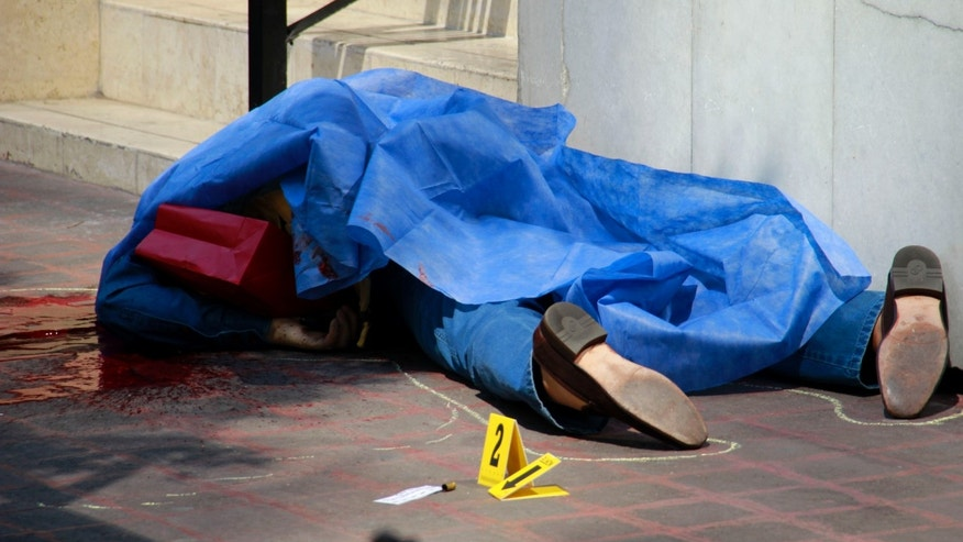 Blood covers the sidewalk next to the body of an unidentified man where police evidence markers lay next to a bullet casing at a crime scene in the Zona Rosa neighborhood of Mexico City, Friday, Feb. 15, 2013. The shooting occurred in broad daylight in one of Mexico City's tourist hot spots outside a popular restaurant. (AP Photo/Gabriela Sanchez)