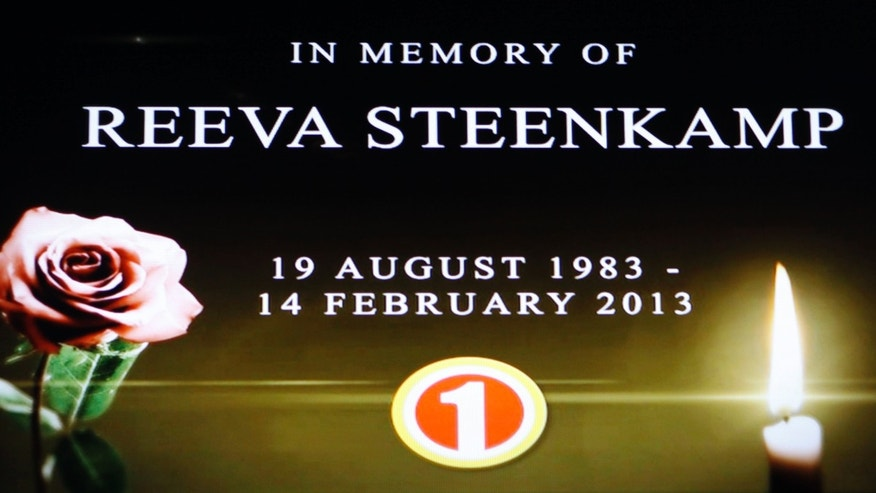 "In this frame-grab from state television channel SABC 1 a tribute is devoted to slain model Reeva Steenkamp, girlfriend of Olympic athlete Oscar Pistorius. South Africas national broadcaster went ahead with the screening of  the  reality TV show ""Tropica Island of Treasure"" Saturday, Feb 16, 2013, featuring the dead model. Steenkamp encouraged her family to watch in one of her last conversations with them before her shooting death at the  home of Pistorius. (AP Photo/Denis Farrell)"