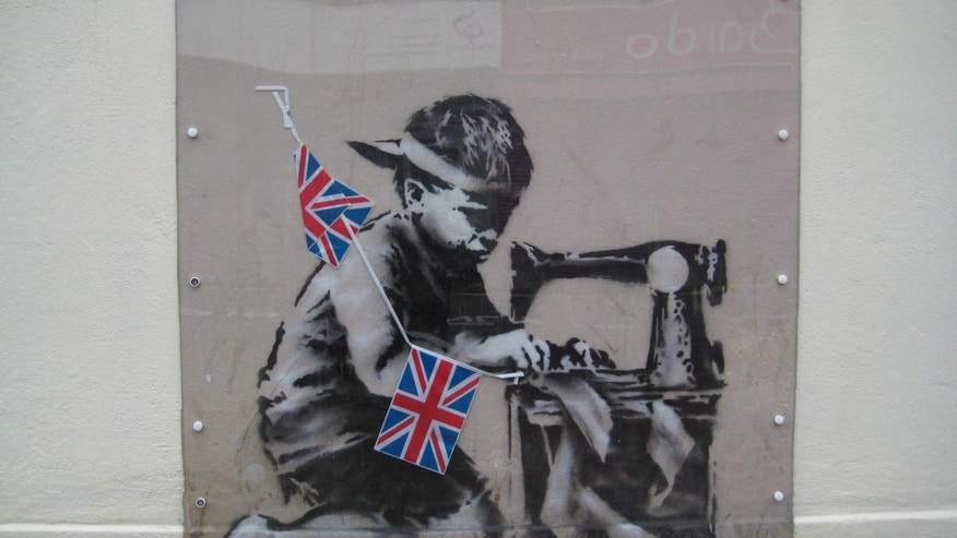 This is an undated image of an art work from  British artist Banksy made available by Haringey Council Wednesday Feb. 20, 2013.