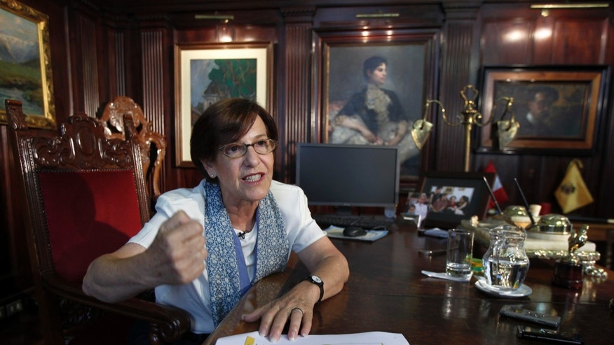In this Feb. 7, 2013 photo, Lima's Mayor Susana Villaran speaks during an interview at her office in Lima, Peru. Villaran, a 63-year-old career human rights defender and the first woman ever elected to manage Peru's capital, will face a recall election on March 17. Detractors portray Villaran as an elitist who has done little about public works, and she has irritated religious conservatives by promoting gay rights. (AP Photo/Martin Mejia)