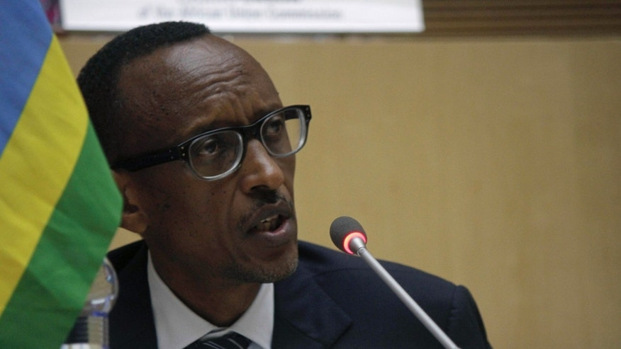 Paul Kagame, president of Rwanda, during the signing of the Congo peace agreement, in Addis Ababa, Ethiopia, Sunday, Feb. 24, 2013. Eleven African countries signed a United Nations-drafted peace deal on Sunday to stabilize the troubled Central African country of Congo, where rebels allegedly backed by neighboring countries last year threatened to oust the government.( AP Photo/Elias Asmare)