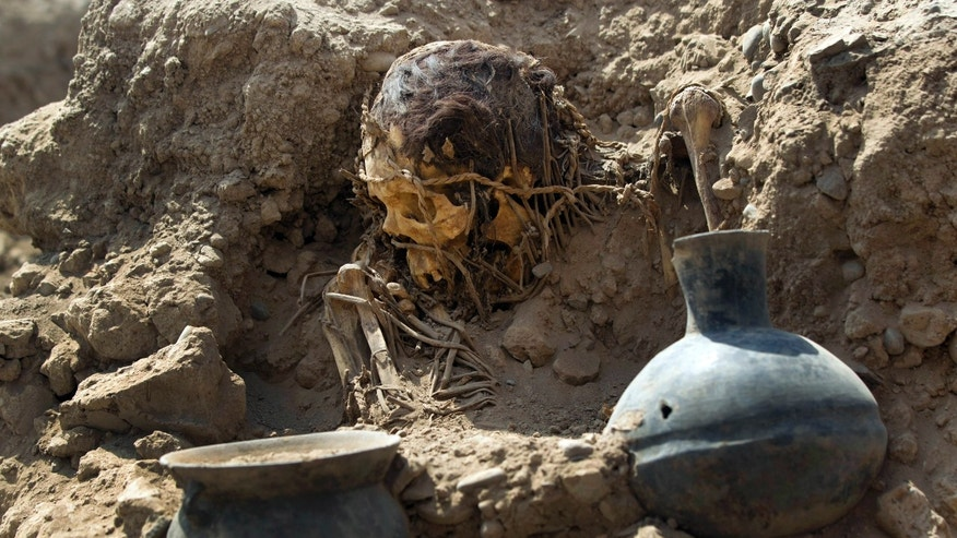 An excavated skull and artifacts lay unearthed at the sports complex where Peru's national soccer team practices in Lima, Peru, Tuesday, Feb. 26, 2013. According to Peru's Ministry of Culture, 11 pre-Inca tombs belonging to the Lima culture (200-700 AD) and Yschma (1100-1400 AD) were located inside the sports complex in the district of San Luis, where excavations started in Dec. 2012. (AP Photo/Martin Mejia)