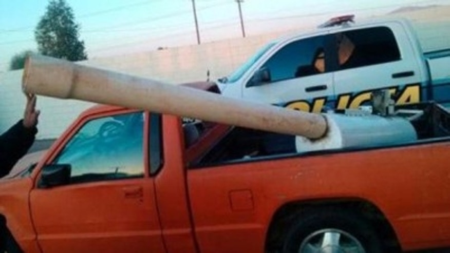 This marijuana cannon reportedly used compressed air from a car engine to launch marijuana packages over the border between the U.S. and Mexico.