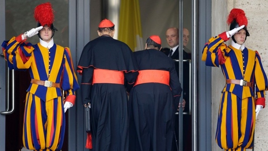 March 5, 2013: Cardinals arrive for a meeting, at the Vatican. Tuesday brought a second day of pre-conclave meetings with cardinals to organize the election process and get to know one another.