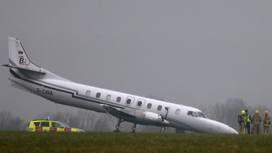 March 7, 2013: The scene of a plane crash at Dublin Airport after the front wheel of the Bin Air aircraft buckled on landing causing the accident on the runway.