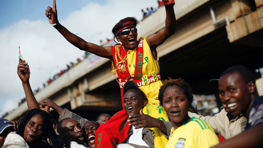 March 9, 2013: Supporters of Kenyan presidential candidate Uhuru Kenyatta celebrate what they perceive is an election win for him in Nairobi, Kenya.