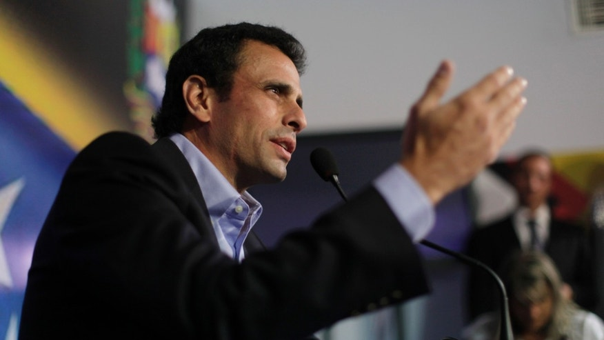 March 8, 2013: Opposition leader Henrique Capriles speaks during a press conference in Caracas, Venezuela. Capriles called Vice President Nicolas Maduro a bold-faced liar and accuses him of using Hugo Chavez's funeral to campaign for the presidency.