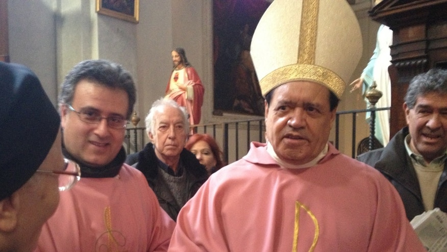 Norberto Rivera, one of four Mexican cardinals partaking in the conclave, gave mass at the church San Francesco a Ripa.