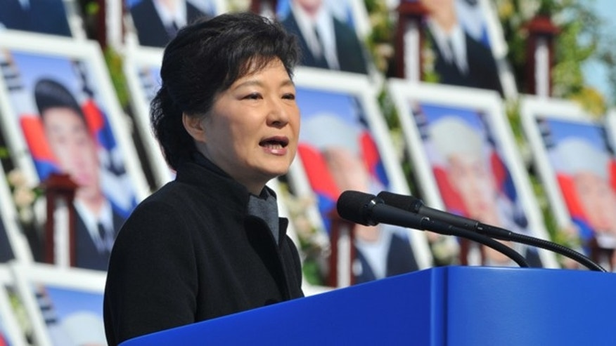 "March 26, 2013: South Korean President Park Geun-hye delivers a speech during the third anniversary of the sinking of a South Korean naval war ship ""Cheonan"" at the National Cemetery in Daejeon, South Korea. An explosion ripped apart the 1,200-ton warship, killing 46 sailors near the maritime border with North Korea in 2010."