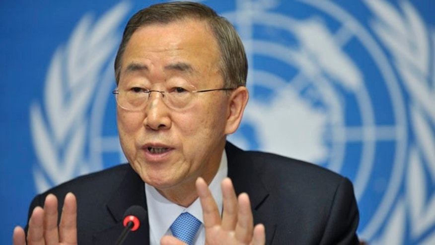 May 11: United Nations Secretary-General Ban Ki-moon speaks during a press conference at the European headquarters of the United Nations in Geneva, Switzerland.
