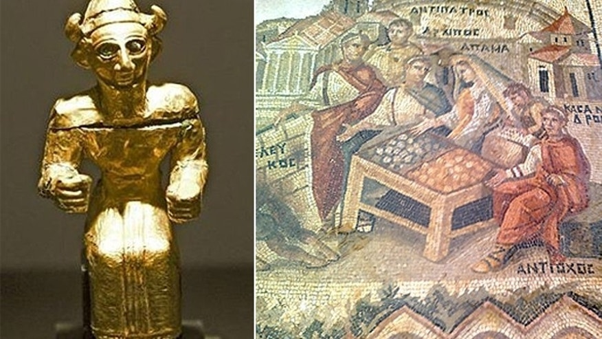 "These images, provided by INTERPOL and the group ""Protect Syrian Archaeology,"" show a statue and mosaic stolen from museums within the war-torn country."