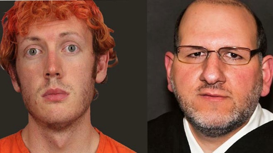 James Holmes, left; Judge Carlos Armando Samour, Jr., right.