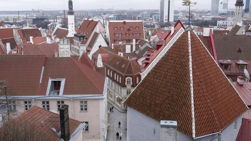 A view of the old town Tallinn, Estonia.