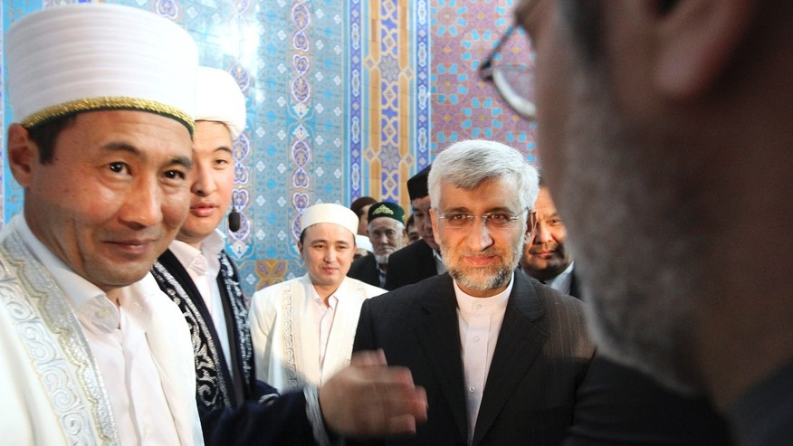 April 5, 2013 - Saeed Jalili, secretary of Iran's Supreme National Security Council, center, arrives at a mosque during a break in high-level talks between world powers and Iranian officials in Almaty, Kazakhstan.