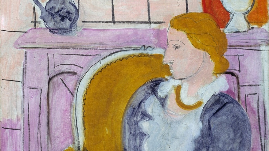 "April 5, 2013: This undated image released by Henie Onstad Kunstsenter shows part of the painting ""Blue Dress in an Yellow Arm Chair"", circa 1936 by Henry Matisse."