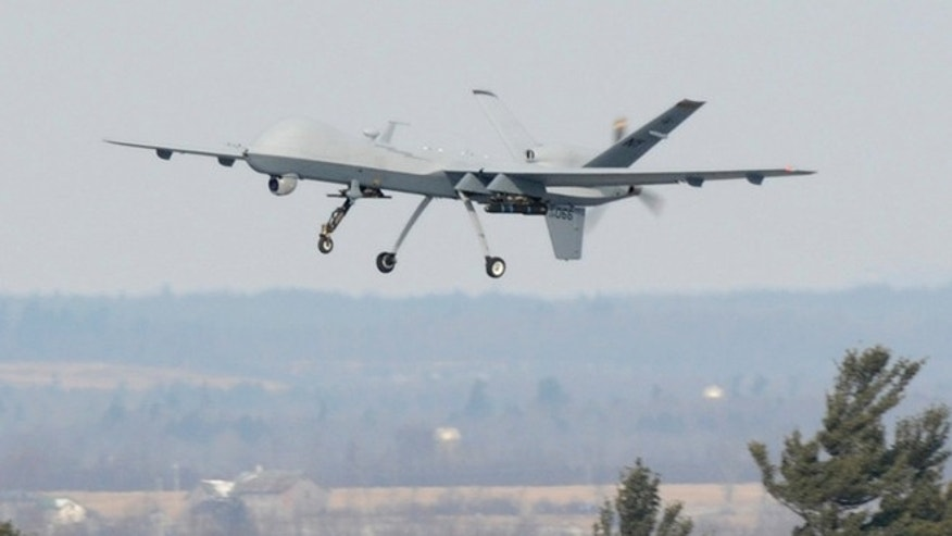 Feb. 14, 2012: A U.S. Air Force MQ-9 Reaper unmanned aerial vehicle assigned to the 174th Fighter Wing, New York Air National Guard, takes off on a training mission at Wheeler-Sack Army Airfield, Fort Drum, N.Y. in this USAF handout photo.