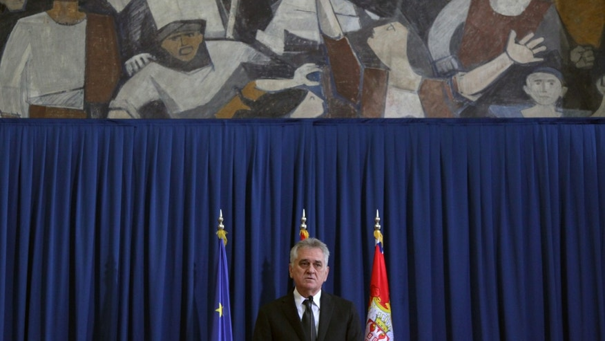 "Serbia's President Tomislav Nikolic speaks during a press conference in Belgrade, Serbia, Monday, April 1, 2013. Nikolic said: ""What Pristina wants, and that is independence, will never be possible without Serbia"" and ""There will never again be a military solution for the problems in the Balkans."" Serbia has until now insisted on a high level of self-rule for the Kosovo Serbs, including their own police, judicial authorities and self-government. But this has been rejected by Kosovo Albanians as a de-facto partition of Kosovo, which enjoys the backing of the United States and most European Union countries. (AP Photo/Darko Vojinovic)"