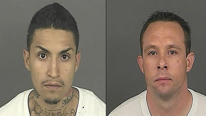 Matthew Andrews (R); a Denver sheriff's deputy; ws arrested after he was accused of helping an escapee; Felix Trujillo; (L) who left the county jail wearing a deputy's uniform; the sheriff's department.