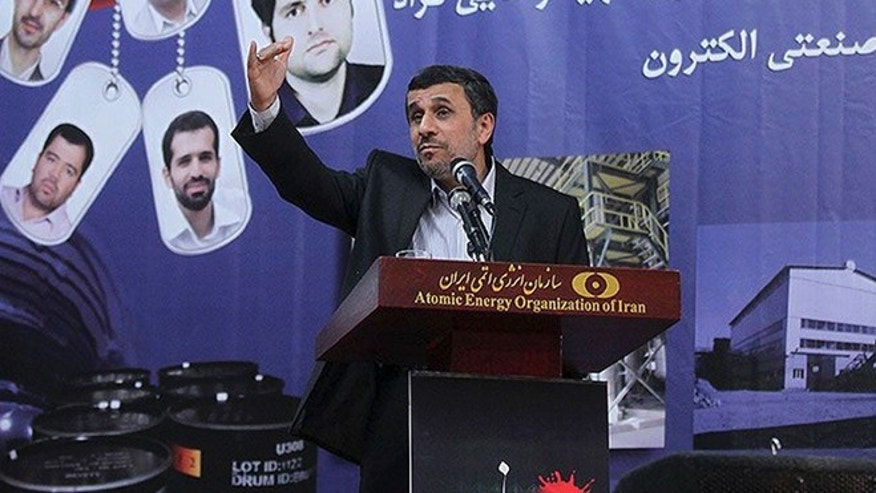 April 9, 2013: In this photo released by the official website of the office of the Iranian Presidency, President Mahmoud Ahmadinejad, speaks at a ceremony marking Iran's National Day of Nuclear Technology, in Tehran, Iran. Iran announced two key nuclear-related projects on Tuesday that expand the country's ability to extract and process uranium, which can be enriched for reactor fuel but also potentially for atomic weapons.