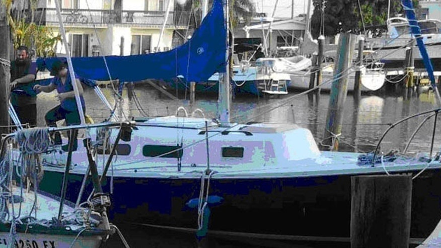 This undated photo provided by the Hillsborough County Sheriff's Office shows a 25-foot sailboat that was recently acquired by Joshua Michael Hakken. Officials are searching for Hakken, who kidnapped his two children from their grandparents' home in Tampa, Fla. Hakken lost custody of the children last year after a drug possession arrest in Louisiana. (AP Photo/Hillsborough County Sheriff's Office)