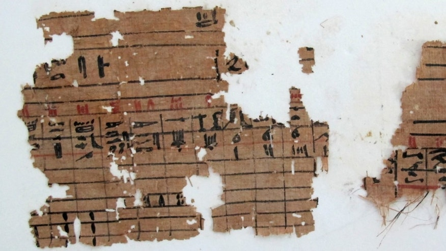 This undated photo released by Egypt's Supreme Council of Antiquities Thursday, April 11, 2013, shows hieroglyphic papyrus discovered at Wadi el-Jarf, nearly 180 km (111 miles) south the coastal city of Suez, Egypt. Egypt's state of antiquities affairs minister has declared the discovery of a historic coastal port dating back to King Khufu of the fourth dynasty of the old pharaonic kingdom. The Franco-Egyptian team working in the Suez archaeological area also discovered hieroglyphic papyri and stone anchors. Most of the discovered papyri date back to the 27th year of the reign of King Khufu. The papyri included information about number of the port workers and details about their daily lives. They were transferred to the Suez museum for study and registration.  (AP Photo/Egypt's Supreme Council Of Antiquities)