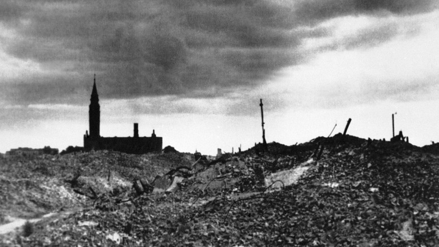 ADVANCE FOR USE MONDAY, APRIL 15, 2013 AND THEREAFTER - This 1943 file photo shows the rubble after the Warsaw ghetto was razed by German forces. (AP Photo)