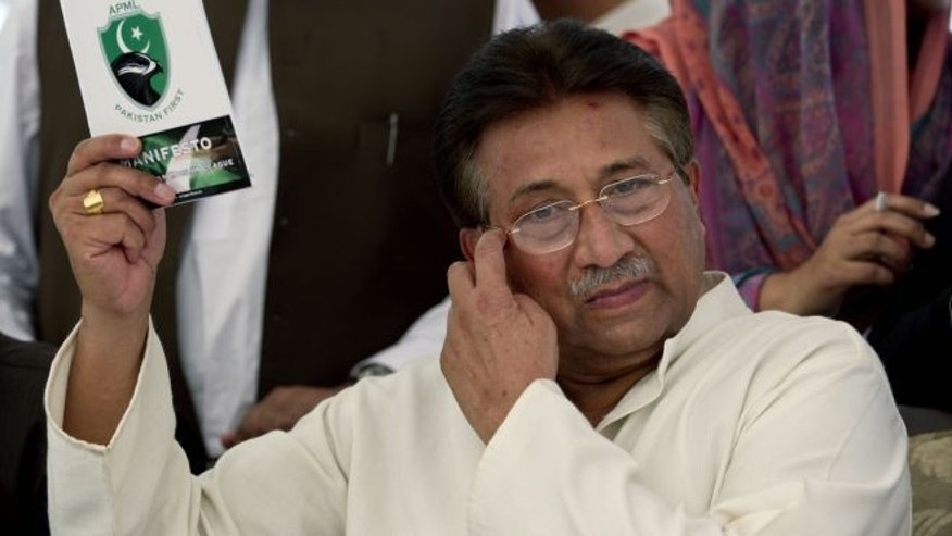April 15, 2013: Pakistan's former President and military ruler Pervez Musharraf arrives to present party manifesto leaflets to candidates at his residence in Islamabad, Pakistan.