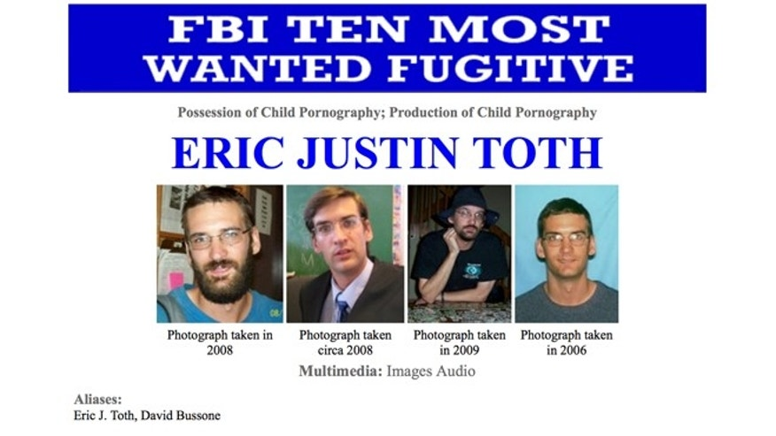 "This image made from the Federal Bureau of Investigation ""Ten Most Wanted"" section of the website on Wednesday, April 11, 2012 shows Eric Justin Toth Police in Nicaragua have detained one of the FBI's ten most-wanted fugitives, child-porn suspect Eric Justin Toth. The head of detectives for Nicaragua's National Police force says Toth was detained near the Honduran border."