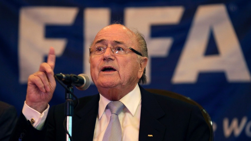 FIFA President Joseph S. Blatter gives a press conference at Hotel Nacional in Havana, Cuba, Wednesday, April 17, 2013. Blatter made a stop in Cuba on his way to Panama, where he will attend attend the CONCACAF annual congress. (AP Photo/Franklin Reyes)
