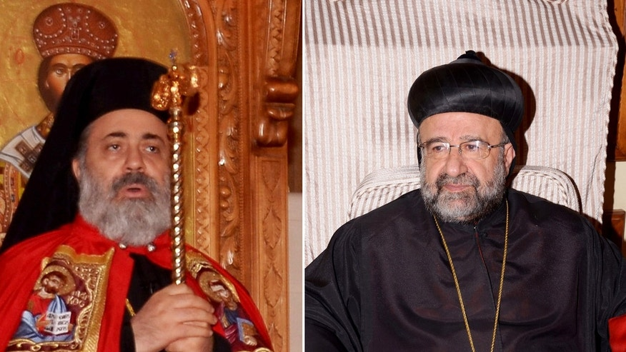 In this undated combo picture released by the Syrian official news agency SANA, Bishop Boulos Yazigi of the Greek Orthodox Church, left, and John Ibrahim of the Assyrian Orthodox Church, right, who were kidnapped Monday, in the northern province of Aleppo, Syria. the fate of two priests who were kidnapped Monday in the northern province of Aleppo is still unknown. It was not immediately clear who abducted Bishop Boulos Yazigi of the Greek Orthodox Church and John Ibrahim of the Assyrian Orthodox Church, said Greek Orthodox Bishop Tony Yazigi. He said the two bishops were abducted from the village of Kfar Deal, and their driver was killed by the gunmen. (AP Photo/SANA)