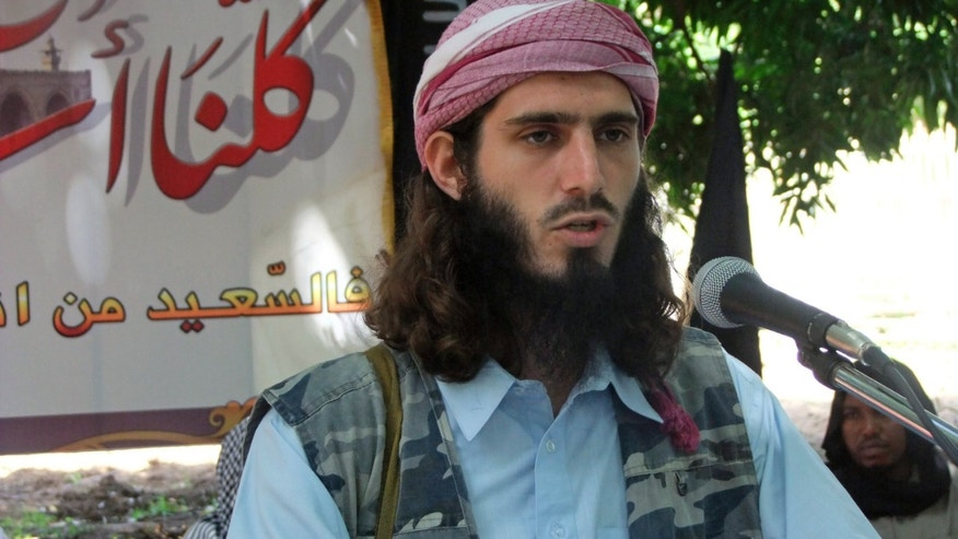May 11, 2011 - FILE photo - American-born Islamist militant Omar Hammami, addresses a press conference of the militant group al-Shabab at a farm in southern Mogadishu's Afgoye district in Somalia.