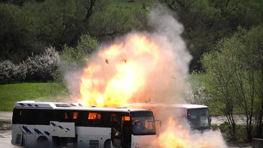 April 26, 2013 - A bus explodes near Ihtiman, as Bulgarian investigators stage a re-enactment of the bus bombing that killed five Israeli tourists, the bus driver and the alleged perpetrator at the Burgas airport in July.