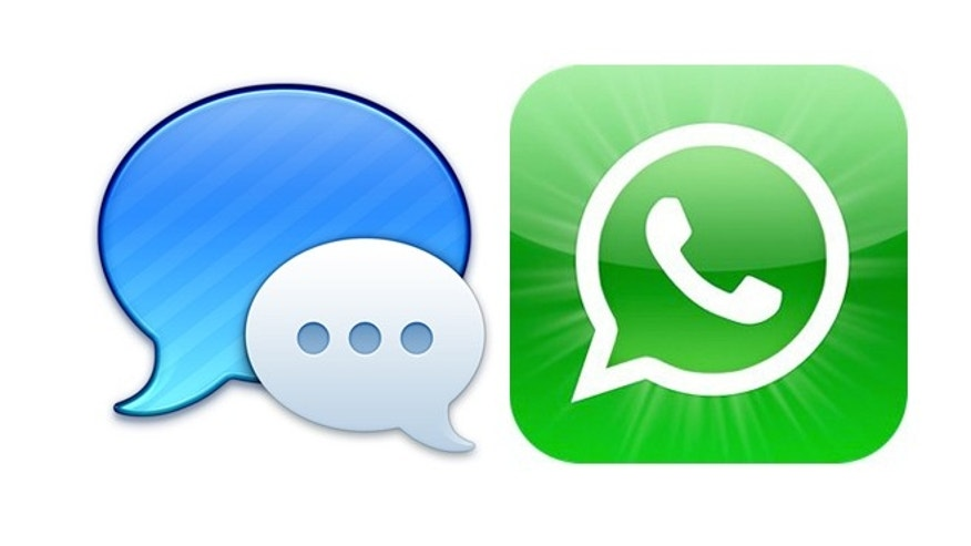 iMessage logo (right) and the WhatsApp logo (left).