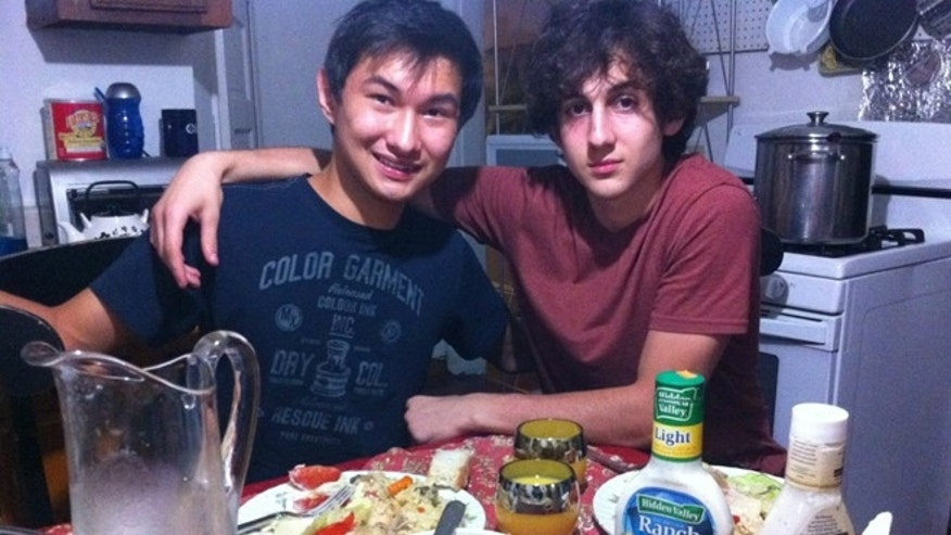 This undated photo found on the VK page of Dias Kadyrbayev shows Kadyrbayev, left, with Boston Marathon bombing suspect Dzhokhar Tsarnaev, at an unknown location. Kadyrbayev and Azamat Tazhayakov, two college buddies of Tsarnaev from Kazakhstan, were jailed by immigration authorities the day after his Tsarnaev's capture. They are not suspects, but are being held for violating their student visas by not regularly attending classes, Kadyrbayevâs lawyer, Robert Stahl said. They are being detained at a county jail in Boston. (AP Photo/VK)
