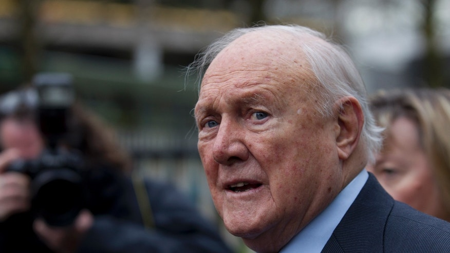 Feb. 7, 2013: In this file photo, former BBC broadcaster presenter Stuart Hall makes a statement to the media after appearing in court in Preston, England. BBC broadcaster Stuart Hall has pleaded guilty to multiple assaults on young girls. Prosecutors said Thursday May 2, 2013 that the 83-year-old sports broadcaster has pleaded guilty to 14 indecent assaults.