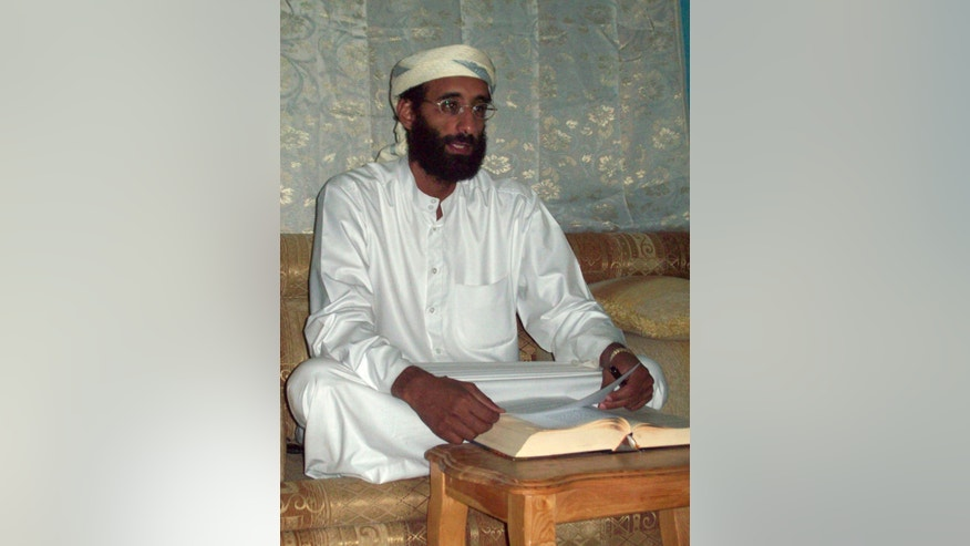 FILE - This Oct. 2008 file photo shows Imam Anwar al-Awlaki in Yemen, who was killed in a U.S. drone strike. A public backlash is starting to grow in Yemen over civilians killed by American drones as the U.S. dramatically steps up its strikes against al-Qaida's branch here the past year. Relatives of those killed say the missile blasts hitting their towns only turn Yemenis against the U.S. campaign to crush militants. The drone strikes have taken out high-level targets in Yemen such as American-born cleric al-Awlaki, believed to have been a powerful tool for al-Qaida's recruiting in the West. Most, however, appear to target midlevel operatives.  (AP Photo/Muhammad ud-Deen, File)