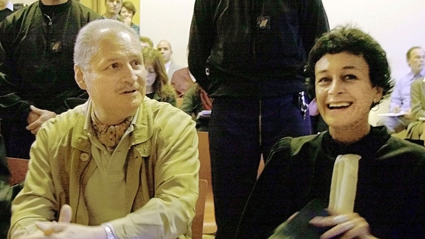 FILE - In this Tuesday, Nov. 28, 2000 file photo, Venezuelan international terrorist Carlos the Jackal whose real name is Ilich Ramirez Sanchez, left, sits with his French lawyer Isabelle Coutant-Peyre in a Paris courtroom.
