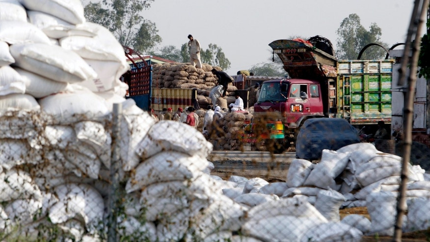 "In this photo taken on Tuesday, May 14, 2013, Pakistan laborers unload sacks of onion imported  from neighboring India at Pakistani border Wagah near Lahore Pakistan. Over a decade ago, the man now set to become Pakistan's next prime minister stood at this border crossing with archenemy India to inaugurate a ""friendship"" bus service connecting the two countries. There is widespread hope on both sides of the border that Nawaz Sharif will take similarly bold steps to improve relations with India following his election victory, thus reducing the chance of a fourth major war between the nuclear-armed foes.  (AP Photo/K.M. Chaudary)"