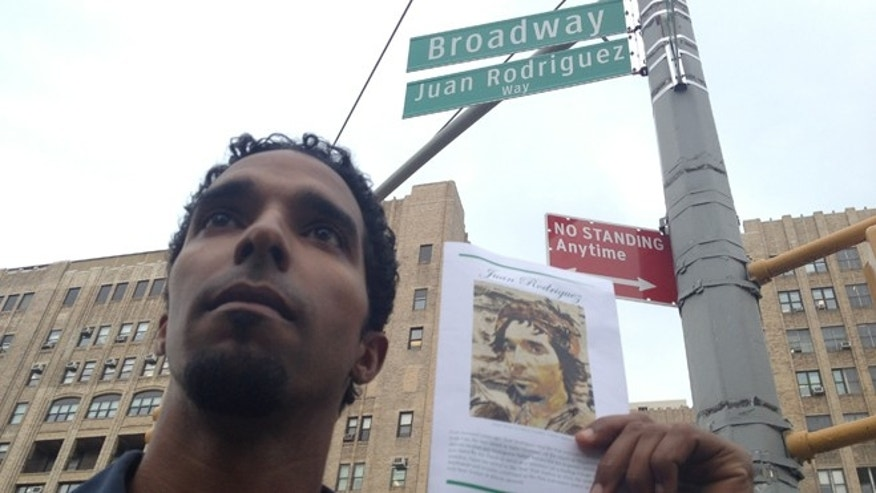 """Armando Batista, 34, at the ceremony for Broadway's co-naming of Juan Rodriguez Way on Wednesday, May 16. Batista co-wrote and plays Juan Rodriguez in a play, """"I am New York. I am Juan Rodriguez."""""""
