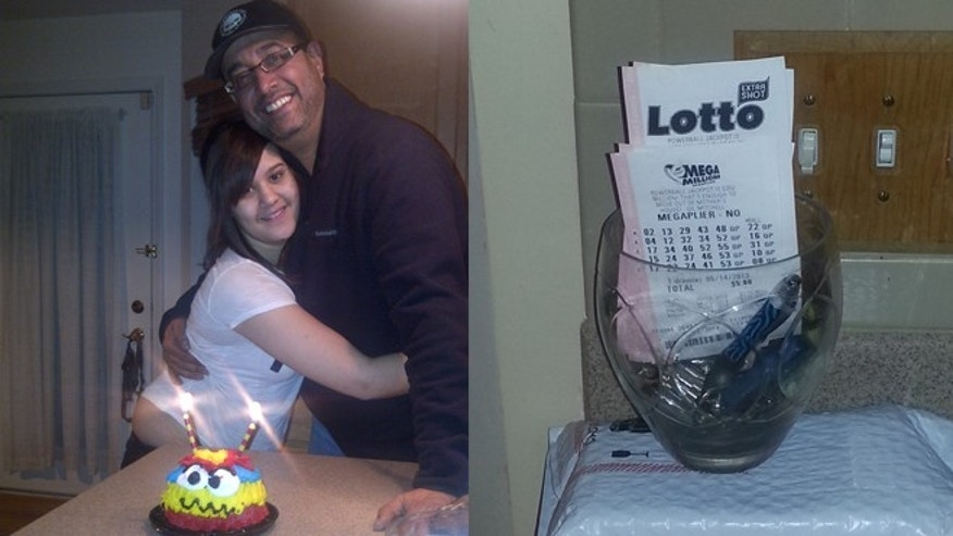 Ricardo Cerezo, 44, pictured above with his daughter Savannah Cerezo, 14, who died in August 2012. On the right, the glass cookie jar Savannah bought for her mother and where the $4.8 million lotto ticket was found.