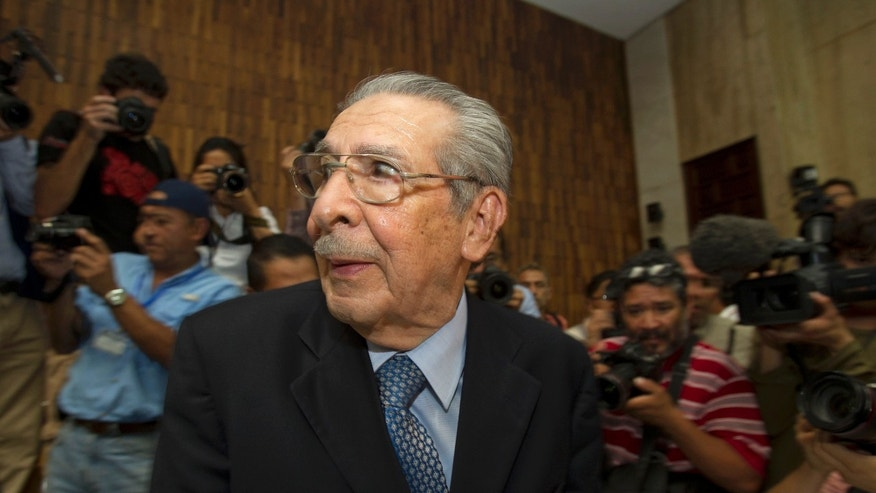 Former dictator Jose Efrain Rios Montt listens to the verdict in his genocide trial in Guatemala City, on May 10, 2013.