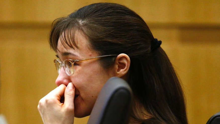 "Jodi Arias cries as she listens to Steven Alexander, brother of murder victim Travis Alexander, makes his ""victim impact statement"" to the jury on Thursday, May 16, 2013."
