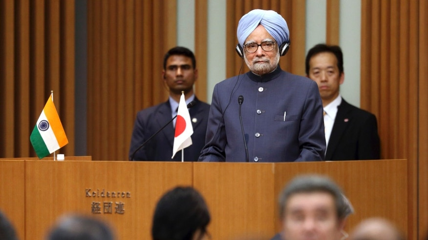 India's Prime Minister Manmohan Singh makes a speech during a luncheon hosted by the business lobby Keidanren, the Japan Chamber of Commerce and Industry (JCCI) and the Japan-India Business Co-operation Committee in Tokyo, Japan, on Tuesday, May 28, 2013. Singh arrived in Japan Monday for a four-day official visit. (AP Photo/Tomohiro Ohsumi, Pool)
