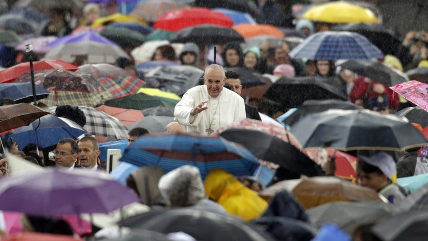 Pope Francis waves to faithful as he arrives for his general audience at the Vatican, Wednesday, May 29, 2103. (AP Photo/Andrew Medichini)